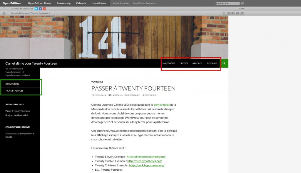 Emplacements de menu du thème graphique Twenty Fourteen