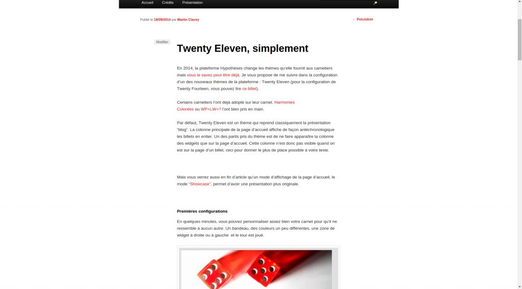 Page d'un billet sous Twenty Eleven