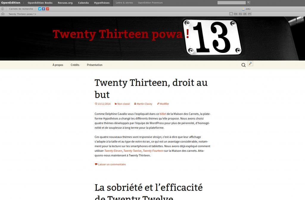 En-tête de carnet sous Twenty Thirteen