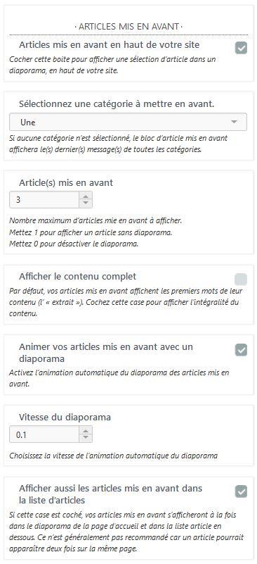 Personnalisation d'un diaporama en page d'accueil sous Hueman