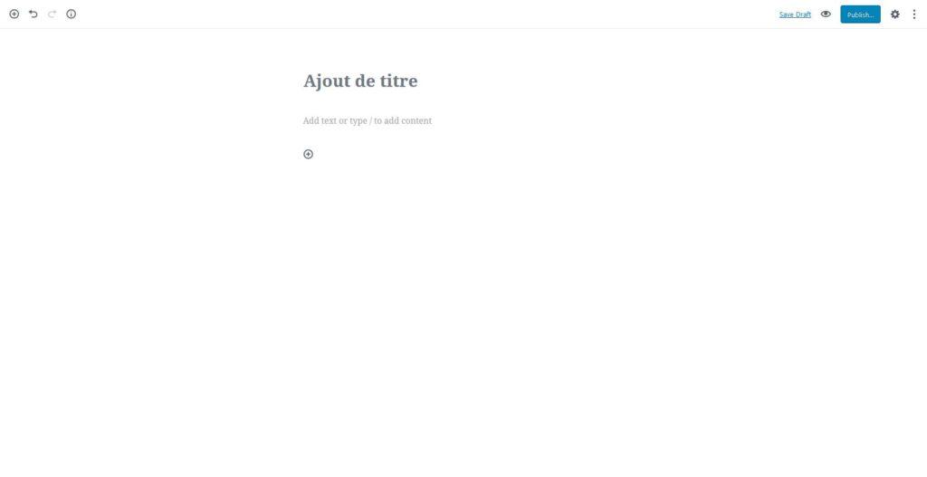Interface d'édition d'un billet avec Gutemberg