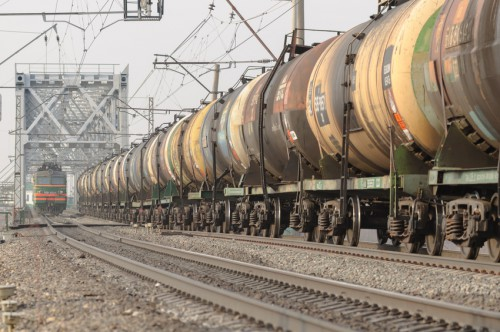 A train of tank cars in motion