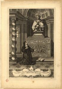 V. M. Tereza da Annunciada, orando na capella do Santo Christo dos Milagres. J. Silvério Carpinetti, 1763.