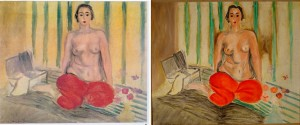 Henri Matisse's original, left, and the fake, right. Photograph: AP/Sofia Imber Contemporary Art Museum