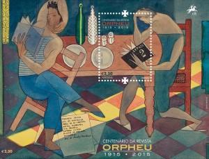 """Apresentação filatélica """"Centenário de Orfeu"""", a partir da obra Lendo Orfeu nº 2, de Almada Negreiros. Design: Atelier B2, 2015."""