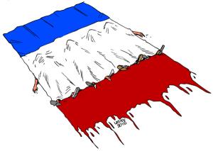 Paris pleure ses morts Carlos Latuff, 2015 Twitter: @LatuffCartoons