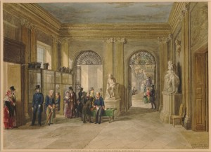 Entrance to the old British Museum, Montagu House  George Scharf, 1845 Londres, The British Museum