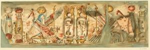 Friso da parede norte no interior do pronaos. Desenho: J. A. Dixon (in Blackman, 1911)
