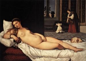 Vénus de Urbino Ticiano, 1538 Florença, Galleria degli Uffizi