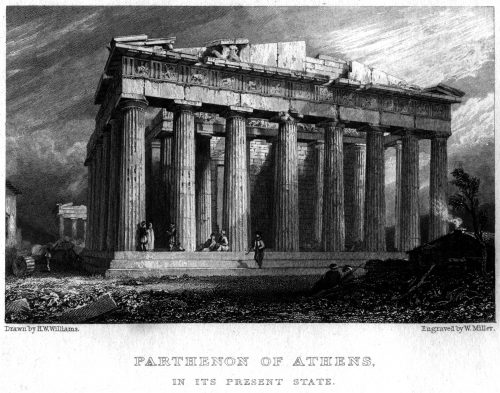 Pártenon de Atenas Gravura de William Miller, a partir de desenho de H. W. Williams In Williams, H. W. (1829). Greece with classical illustrations. London: Longman Rees Orme Brown and Green; and Adam Black.