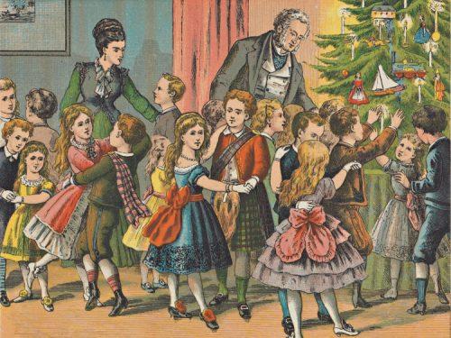 À volta da árvore de Natal In: Overbeek, H. J. (1877). De kerstboom en andere verhalen. Haarlem: I. de Haan. Koninklijke Bibliotheek, KW BJ Z2141