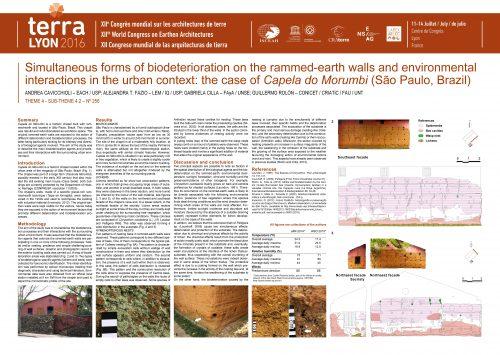 Simultaneous forms of biodeterioration on the rammed-earth walls and environmental interactions in the urban context: the case of Capela do Morumbi (São Paulo, Brazil). CAVICCHIOLI ANDREA, FAZIO ALEJANDRA, CILLA-FAYA GABRIELA, ROLON GUILLERMO