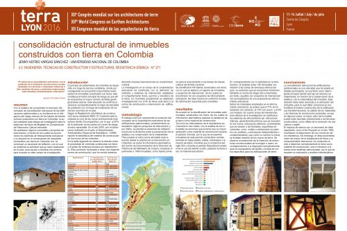 Consolidación estructural de inmuebles construidos con tierra en Colombia: Perspectivas y realidades. VARGAS SANCHEZ JENNY ASTRID