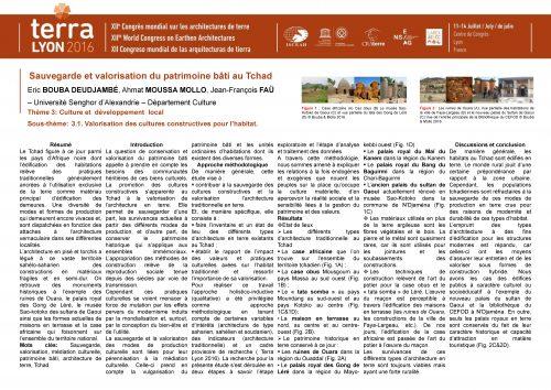 Sauvegarde et valorisation du patrimoine bâti au Tchad. BOUBA DEUDJAMBÉ Eric, MOUSSA MOLLO Ahmat, FAU Jean-François
