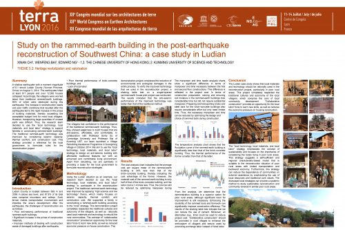 Study on the rammed-earth building in the post-earthquake reconstruction of Southwest China: A case study in Ludian. CHI XINAN, WENFENG BAI, EDWARD NG