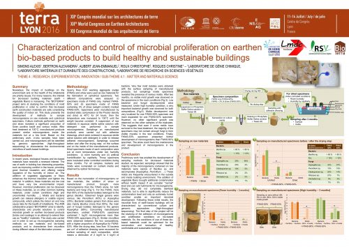 Characterization and control of microbial proliferation on earthen bio-based products to build healthy and sustainable buildings. SIMONS ALEXIS ; BERTRON ALEXANDRA ; AUBERT JEAN-EMMANUEL ; LABOREL-PRENERON AURELIE ; ROUX CHRISTOPHE ; ROQUES CHRISTINE