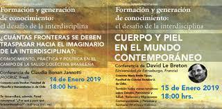 Jornadas interdisciplinarias. Formación y generación de conocimiento: el desafío de la interdisciplina. Conferencia de David Le Breton (14 y 15 de enero 2019, Santiago, Chile)