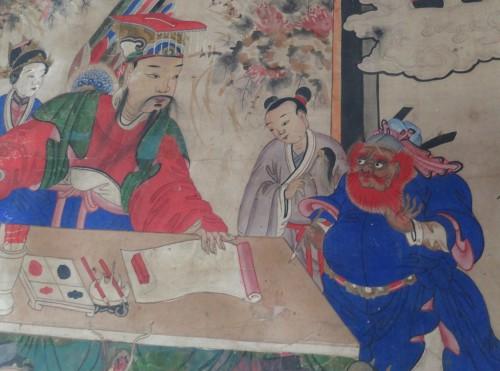Un roi des enfers et son juge-greffier (panguan 判官)