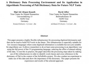 """Knauth/Alfter: """"Algorithmic Processing of Pali Dictionary Data for Future NLP Tasks"""""""