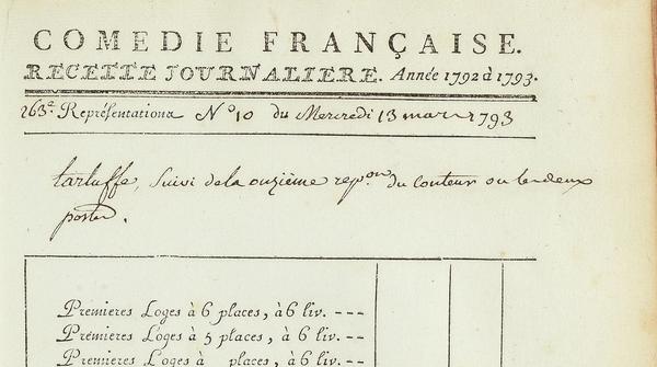 Un exemple de programmation, les registres de la Comédie-Française (1680-1793)