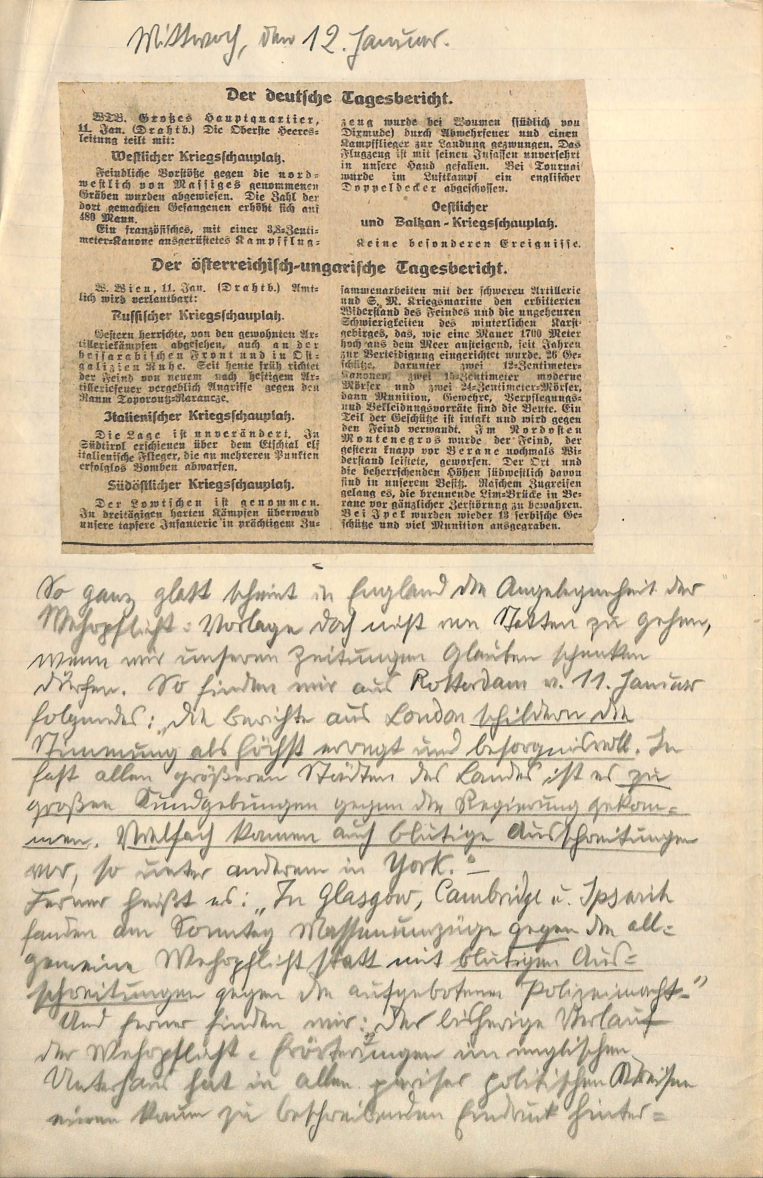 12. Januar 1916   1914-1918: Ein rheinisches Tagebuch
