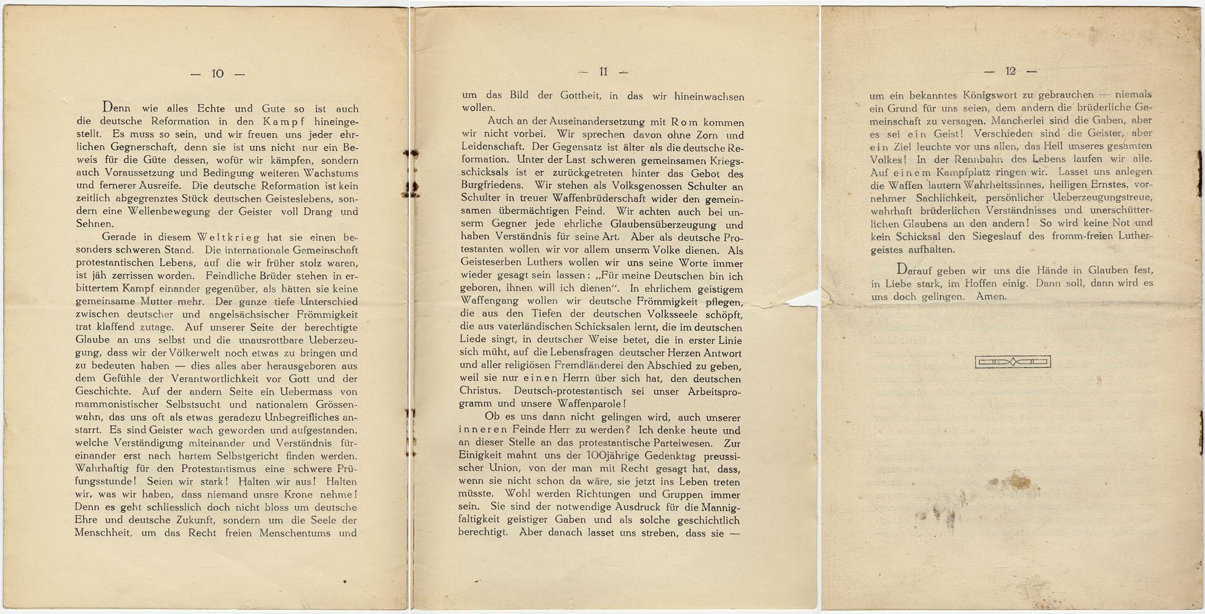 Auszug aus der Festpredigt zum Reformationsjubiläum 1917 von Pfarrer Karl Theodor Becker, gehalten in der Christuskirche zu Köln 31. Oktober 1917, AEKR Archivbibliothek GB 29 005