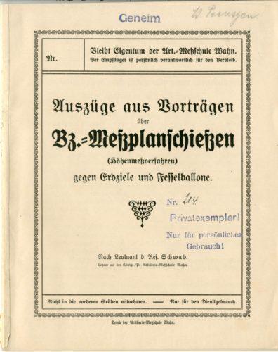 Auszüge aus Vorträgen über Brennzünder-Meßplanschießen der Artillerie-Meßschule Wahn, Exemplar von Leutnant Felix Poensgen