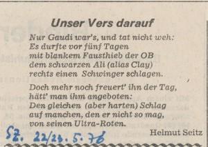 Glosse auf den Besuch in der Süddeutschen Zeitung, 22./23.5.1976