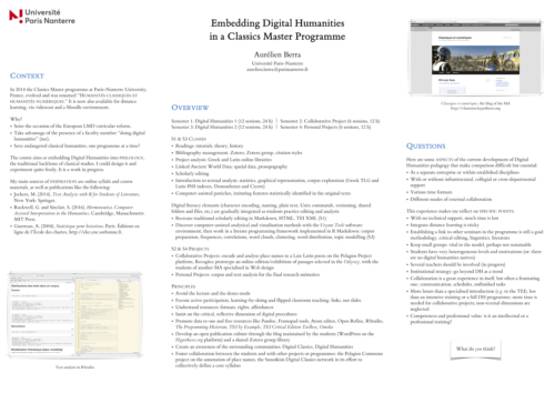 Embedding Digital Humanities in a Classics Master Programme: Aurélien Berra's poster at the Digital Humanities 2017 conference
