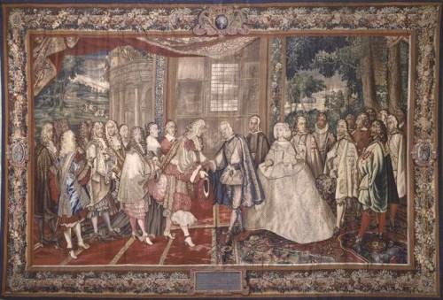 Encuentro de Felipe IV y de Luis XIV en la Isla de los Faisanes. Fuente: Dominio Público, via Wikimedia Commons (https://commons.wikimedia.org/wiki/File%3APheasant_Island.jpg)