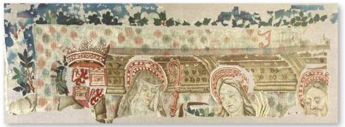 Santos de España, Fragmento de tapiz, lana y seda, Colección Mascort (Barcelona) c. 1440-1460.