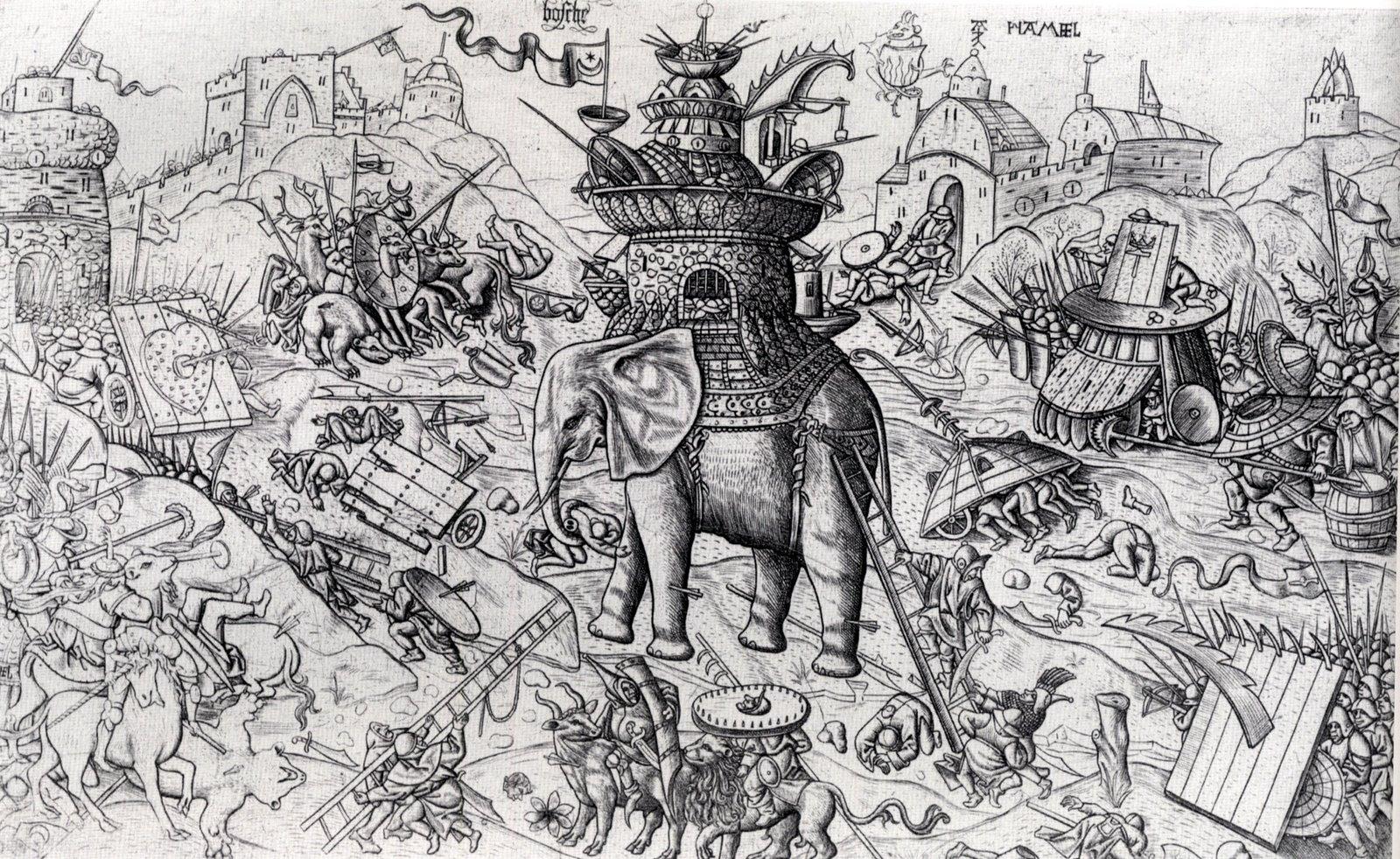 Alaert du Hamel, según original de El Bosco [Public domain], via Wikimedia Commons. https://commons.wikimedia.org/wiki/File%3AAlaert_du_Hamel_(after_Jheronimus_Bosch)_Elephant.jpg