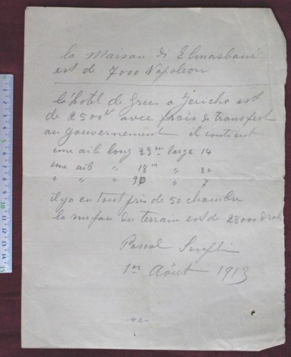 Document in French, Ethiopians using middle men from Jerusalem for searching houses to rent, here Pascal Seraphin in 1913.