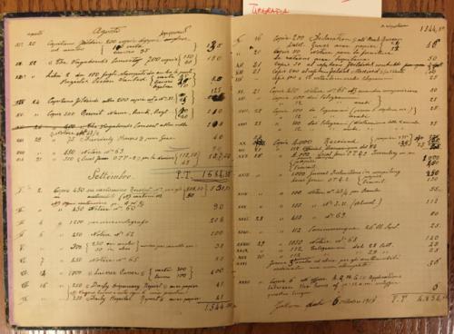 """Picture 12. Aprile 1918 - Luglio 1919: """"Registro dei lavori pel governo"""" (Archivi della Custodia)"""