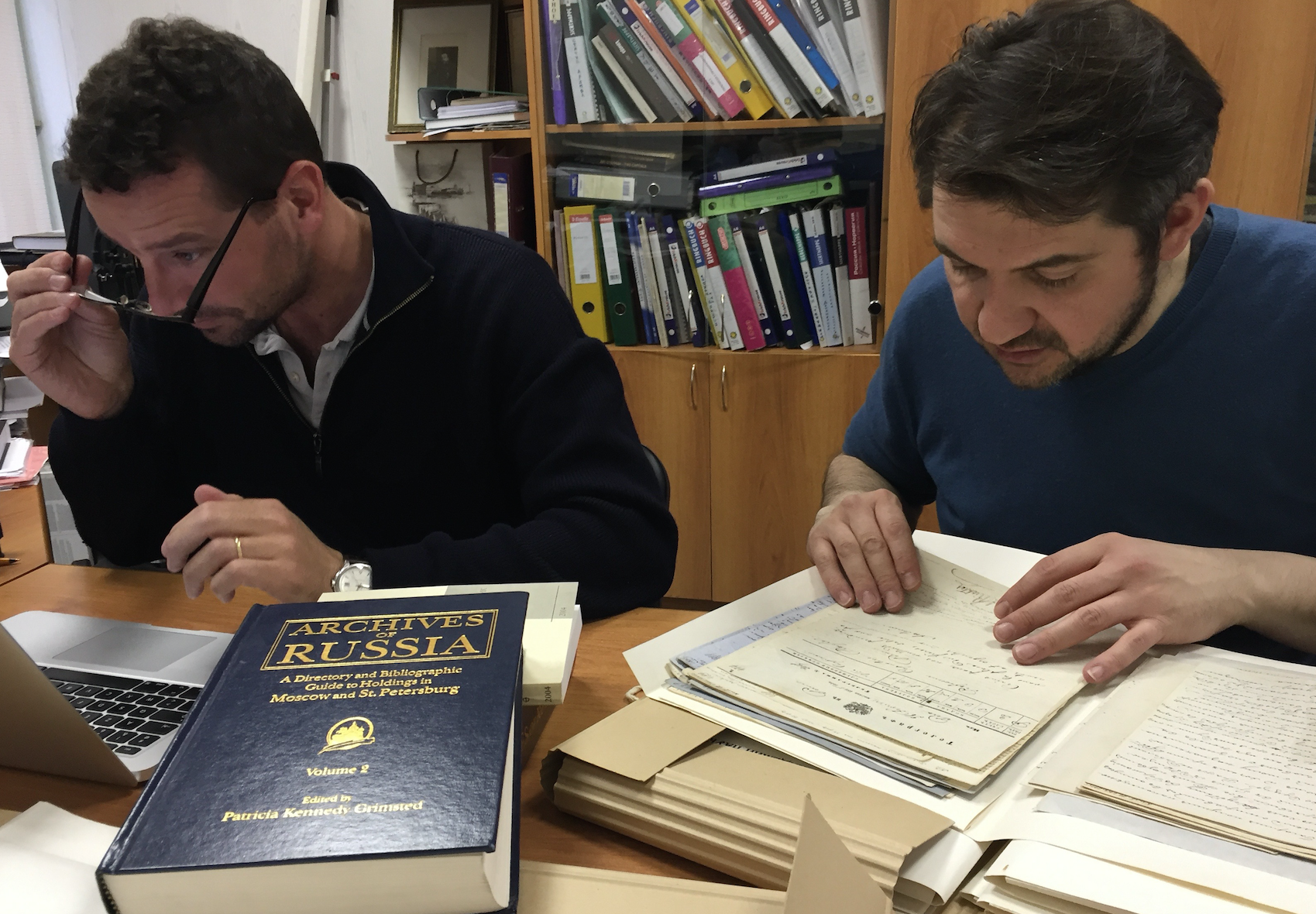 Image 12. Vincent Lemire and Yann Potin at work in the Archives of the Saint Petersburg Academy of Sciences