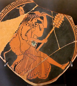 von Macron (Marie-Lan Maenad, fragment of an Attic red-figure cup, ca. 480 BC. (Picture: By Nguyen (2006)) [Public domain], via Wikimedia Commons, URL: http://commons.wikimedia.org/wiki/File%3AFragment_Maenad_Louvre_G160.jpg).