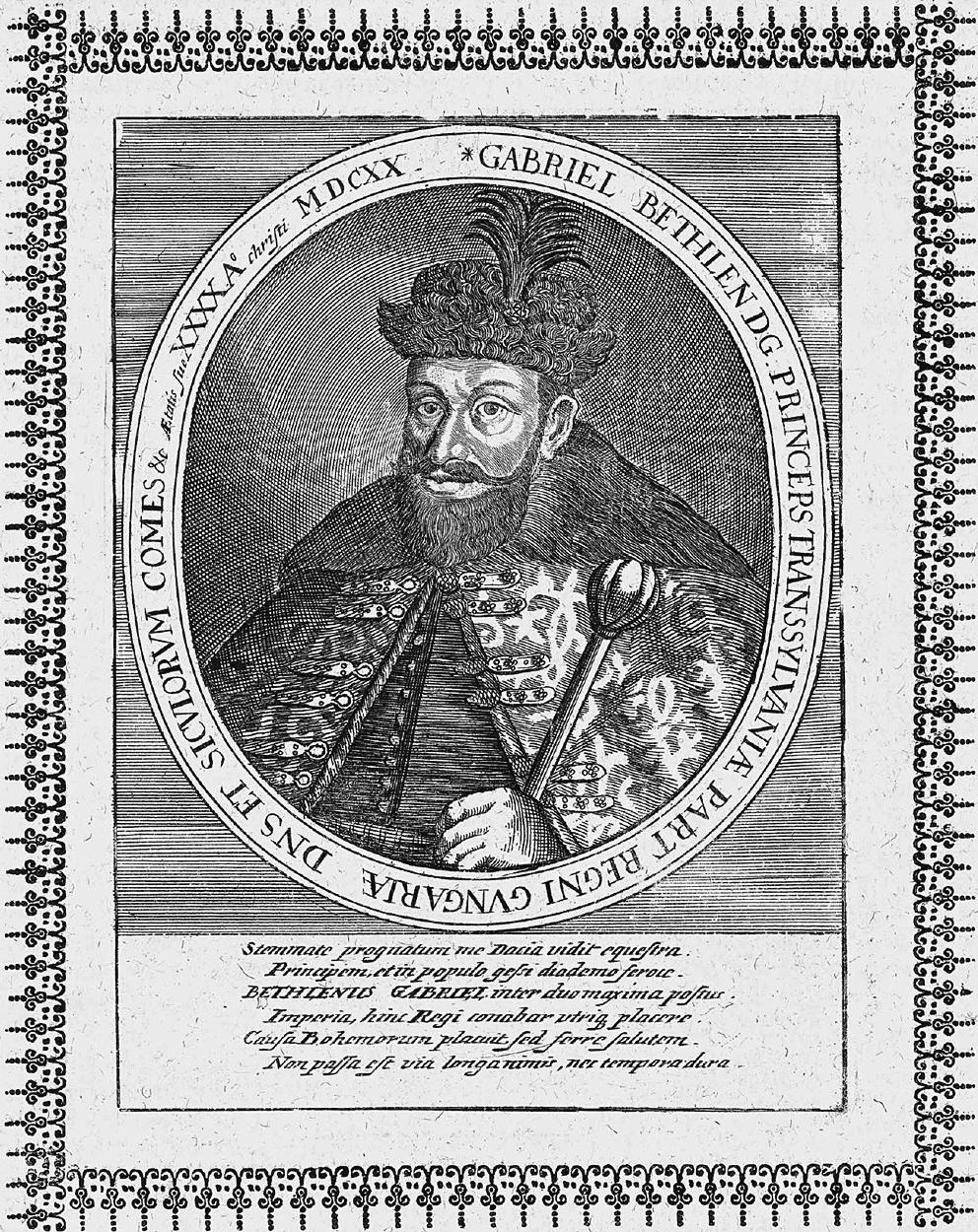 Gábor Bethlen, Kupferstich aus dem von Matthäus Merian begründeten Geschichtswerk Theatrum Europaeum, 1662 (Wikimedia Commons).