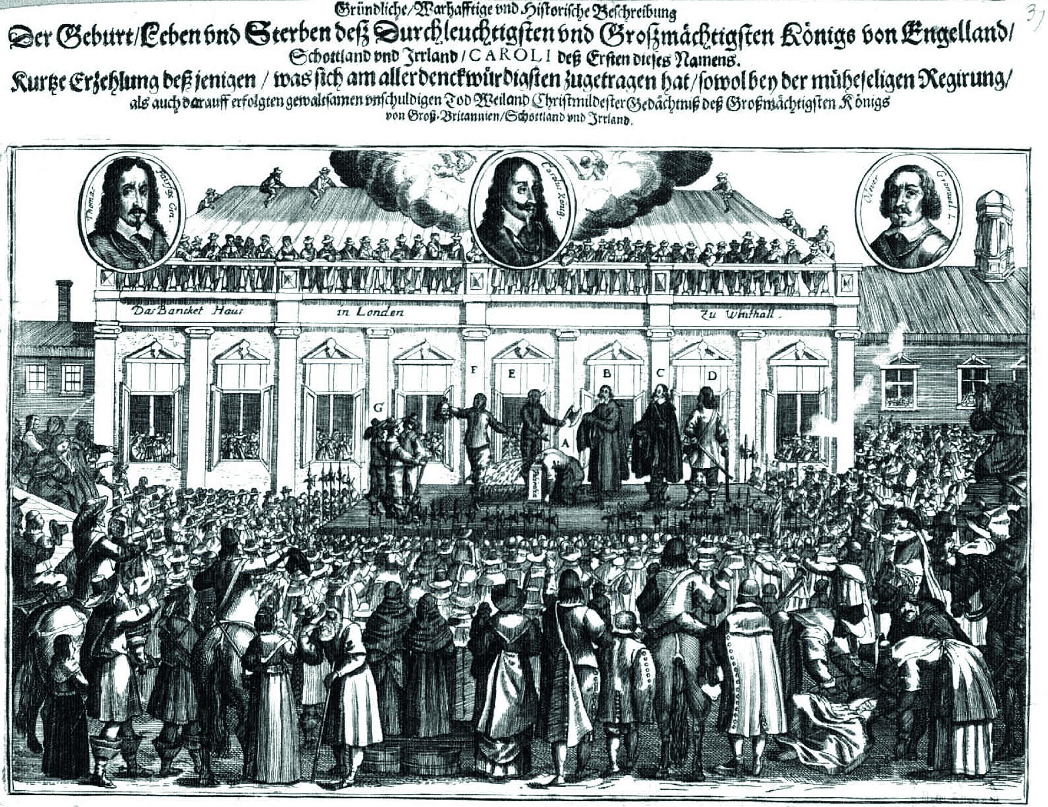 Abb. 1: Zeitgenössisches Flugblatt zur Hinrichtung Karls I. (1649, Quelle: Staatsbibliothek zu Berlin – Preußischer Kulturbesitz)