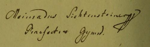 Unterschrift des P. Meinrad Lichtensteiner