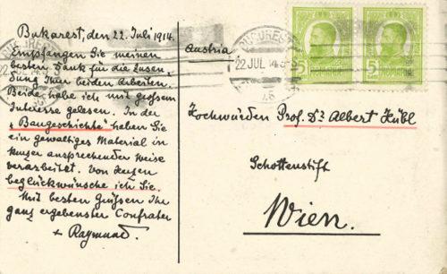 Erzbischof Raymund Netzhammer an P. Albert Hübl (22. Juli 1914).