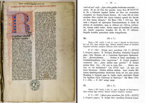 Cod. 26 (Hübl 26), fol. 1r. Gregor der Große: Moralia in Iob (15. Jh.). Rechts zum direkten Vergleich der entsprechende Eintrag im Hübl-Katalog.