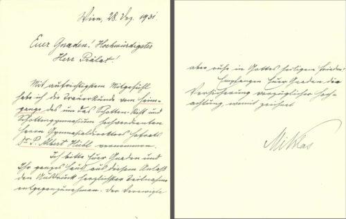 Kondolenzschreiben von Bundespräsident Wilhelm Miklas an Abt-Koadjutor Hermann Peichl (28. Dezember 1931).