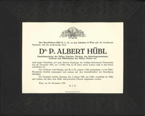 Partezettel für P. Albert Hübl (1931).