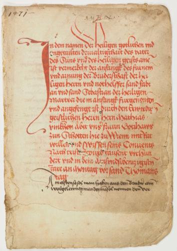 StiA 05.Pfarr Scho 6/01.01. Statuten der Sebastiani-Bruderschaft (1471).