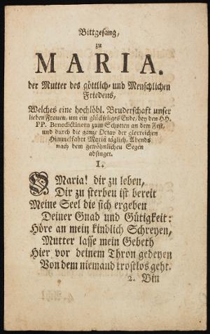 StiA 05.Pfarr Scho 6/03.13. Bittgesang der Bruderschaft Mariä um ein glückseliges Ende (18. Jh.).