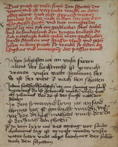 Cod. 51 (Hübl 212), fol. 1r: Novizenspiegel (Anschaffungsvermerk und Notizen zu Abtweihen).