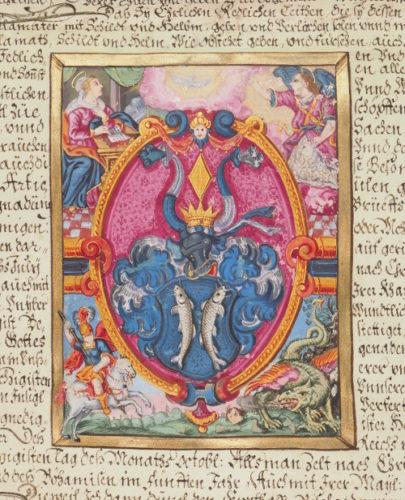 Scr. 74 H.) Nr. 27 (Ausschnitt): Wappenbrief für Georg Haybeckh (19. Februar 1642).