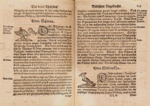StiB 36.c.25, fol. 122v/123r: Hermann Heinrich Frey: Biblisch Vogelbuch (Leipzig, 1595).