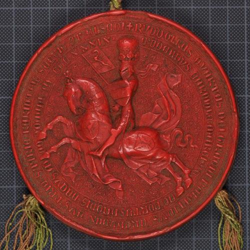 Urk 1360-07-14: Reitersiegel Herzog Rudolfs IV.