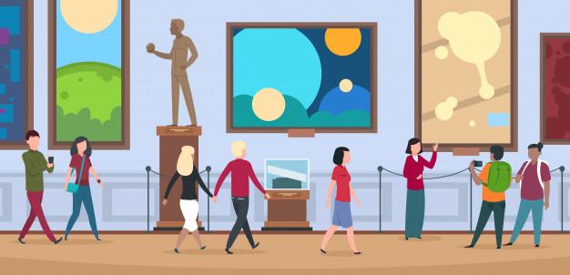 Gens dans le musée d'art (Licence Freepik Premium).